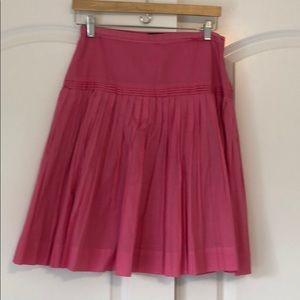 JCrew pink cotton pleated skirt